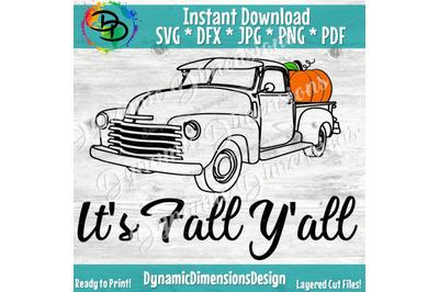 fall y'all svg file, happy fall yall, old truck svg, pumpkin truck sv