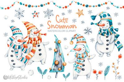 Cute Xmas naive Snowman. Christmas watercolor nursery clipart