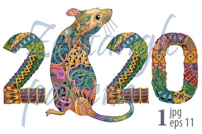 Zentangle stylized rat number 2020. Hand Drawn lace vector illustratio