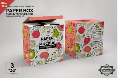 Paper Box Tuck&Tongue Lock Mockup