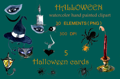Set of watercolor Halloween