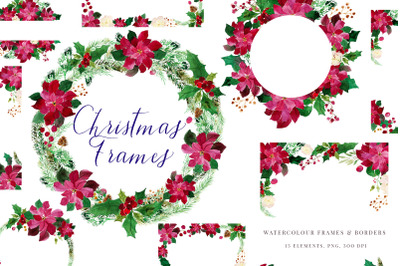 Christmas Watercolour Frames with Poinsettia, PNG