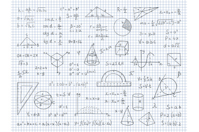 Doodle math. Physics and geometry formulas end equations, school scien