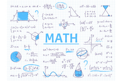 Doodle math. Algebra and geometry school equation and graphs, hand dra