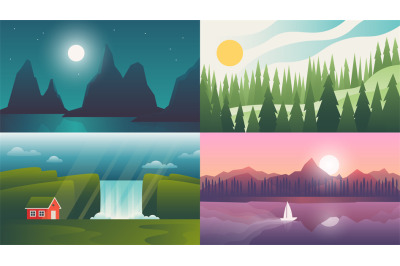Landscape backgrounds. Travel and adventure wallpapers with gradient s