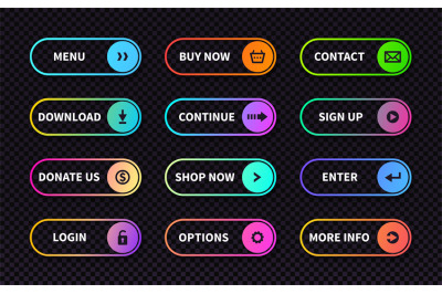 Set of gradient action buttons. Flat web submit form&2C; modern transitio