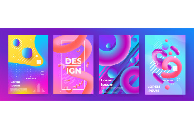 Abstract poster. Memphis geometric banners with minimal gradient shape