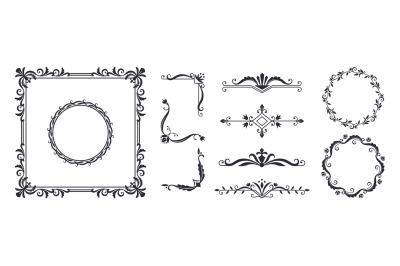 Decorative frame elements. Vintage monogram design templates for invit
