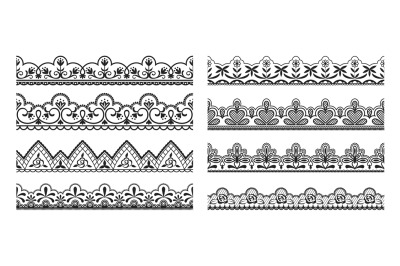 Lace borders. Seamless vintage decorative ribbons with ornamental and