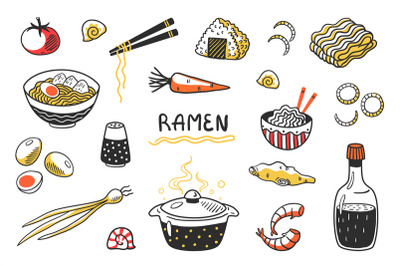 Doodle Ramen. Chinese hand drawn noodle soup with food sticks bowls an