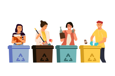 Recycling characters. Cartoon men and women putting trash in different