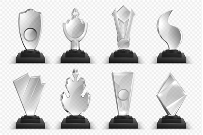 Transparent trophies. Realistic glass crystal awards, winner prizes st