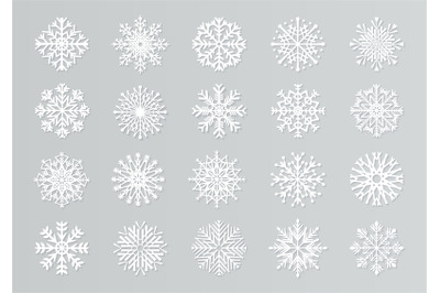 Paper cut snowflakes. White 3D Christmas design templates for decorati