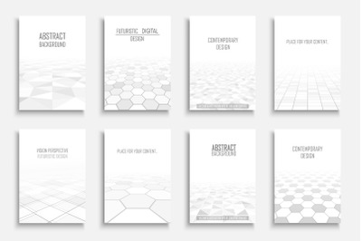 White futuristic geometric covers