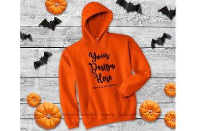 Orange Halloween Hoodie Mockup, Gildan 18500 Mock Up