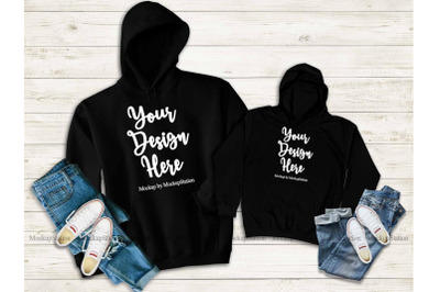 Mommy And Me Black Hoodie Mockup, Matching Family Hooded Sweatshirts
