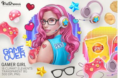 Gamer Girl Clipart