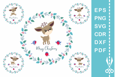 Cute Christmas Deer. Cutting files set