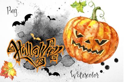 Halloween.  Set of watercolor clipart.