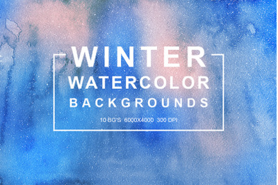 10 Winter Watercolor Backgrounds Vol.1