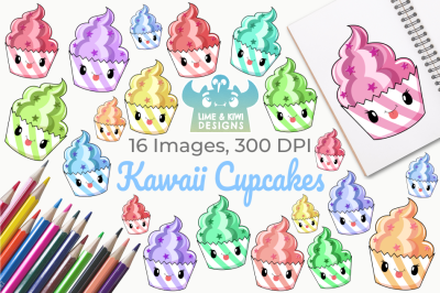 Kawaii Cupcakes Clipart, Instant Download Vector Art