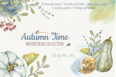 Autumn Time. Watercolor collection