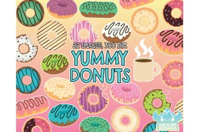 Yummy Donuts Clipart - Lime and Kiwi Designs