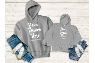Mommy And Me Sport Grey Hoodie Mockup, Matching Family Hoodies