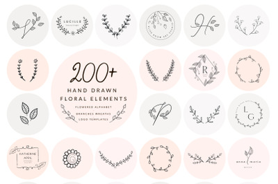 200+ Floral Elements~EPS,SVG,PSD,PNG