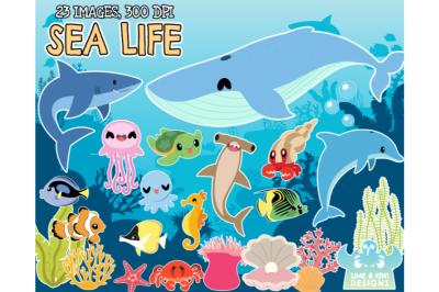 Sea Life Clipart - Lime and Kiwi Designs