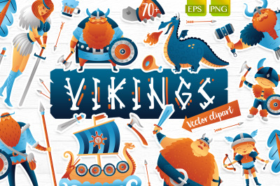 Vikings vector clip art illustration set