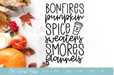 Bonfires Pumpkin Spice - DXF/SVG/PNG/PDF Cut & Print Files