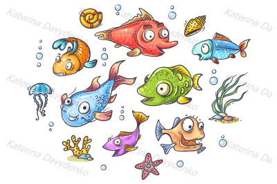 A set of cartoon tropical fishes