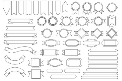Outline Badge & Banner Clip Art Set