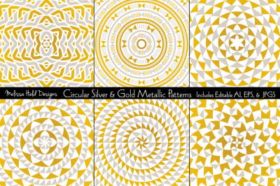 Circular Silver & Gold Metallic Patterns