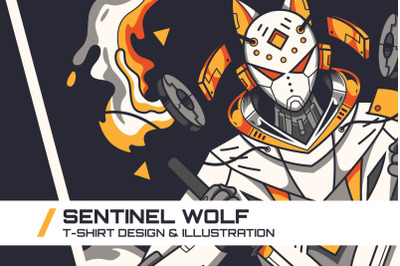 Sentinel Wolf T-Shirt Illustration