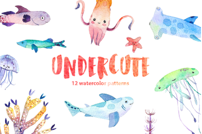 Undercute watercolor fish set