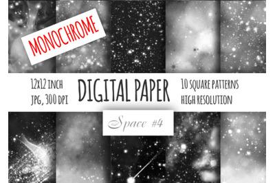 Monochrome galaxy digital paper. Starry sky