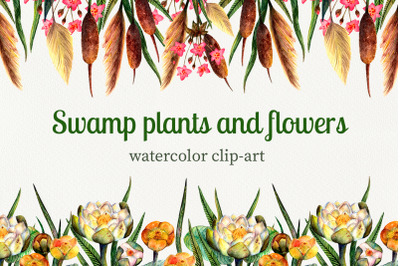 Swamp plants and flowers watercolor set