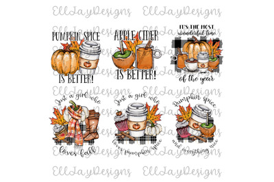 6 Fall PNG Bundle