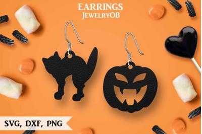 Halloween Earrings, SVG, Cut File, Cat, Pumpkin