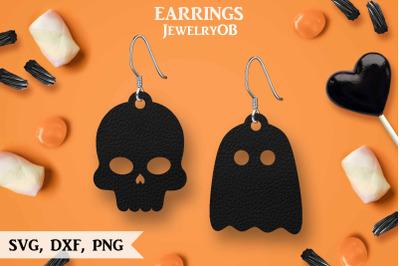 Halloween Earrings, SVG, Cut File, Cat, Ghost, Skull