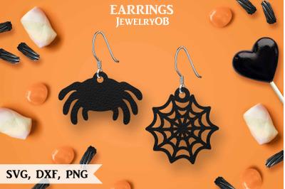Halloween Earrings, SVG, Cut File, Spider Web