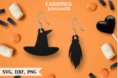 Halloween Earrings, SVG, Cut File, Witch Hat, Broomstick