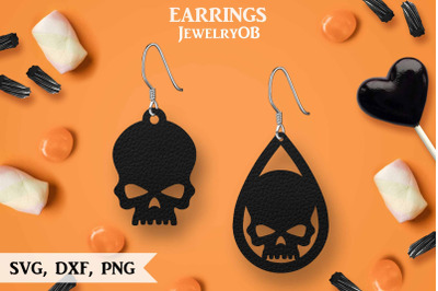 Halloween Earrings, SVG, Cut File, Teardrop, Skull