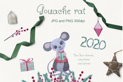 Gouache rat. Hand Drawn set symbol of New Year 2020
