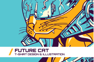 Future Cat T-Shirt Illustration