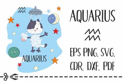 Aquarius. Zodiac sign with funny cat
