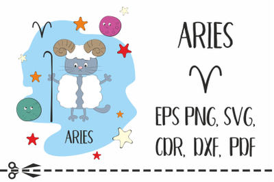 Aries. Zodiac sign with funny cat