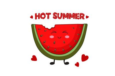Kawaii Watermelon card